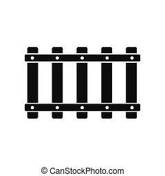 enkel, järnväg, svart, ikon