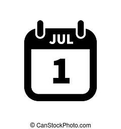 enkel, juli, isolerat, 1, svart, datera, vit, kalender, ikon