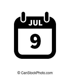 enkel, juli, isoleret, 9, sort, dato, hvid, kalender, ikon