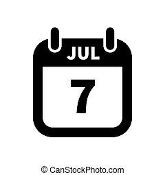 enkel, juli, isoleret, sort, 7, dato, hvid, kalender, ikon