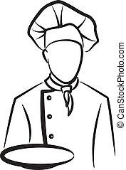enkel, køkkenchef, illustration