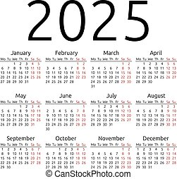 enkel, kalender, 2025, måndag