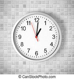 enkel, klocka, eller, ur, vita, tegelpanna, vägg, visa, en,...