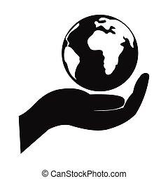 enkel, klode, ikon, hånd