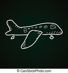 enkel, klotter, av, en, flygplan