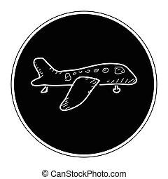 enkel, klotter, flygplan