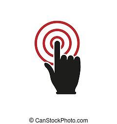 enkel, knap, hånd, konstruktion, icon., falde i hak