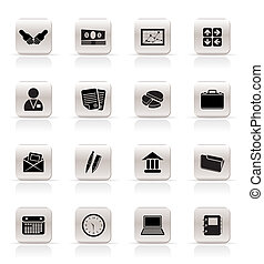enkel, kontor branche, iconerne
