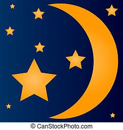 enkel, månskära, stjärnor, måne