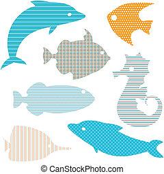 enkel, mønstre, fish, sæt, silhuetter