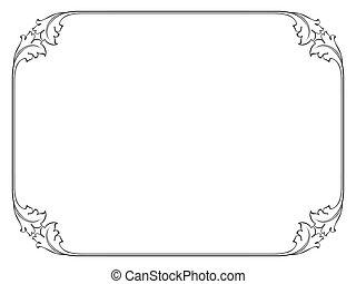 enkel, ornamental, dekorativ, ram
