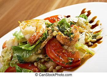 enkel, prawn, salat