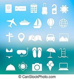 enkel, resa, sätta, vektor, ikon
