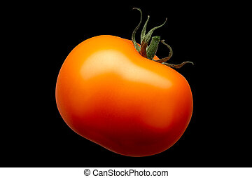 enkel, rode tomaat, vrijstaand, op, zwarte achtergrond
