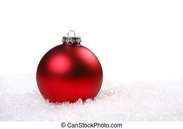 enkel, rood, glanzend, kerstbal, in, de, sneeuw