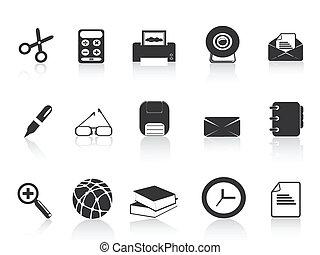 enkel, sätta, svart, ämbete ikon