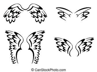 enkel, sæt, vinge