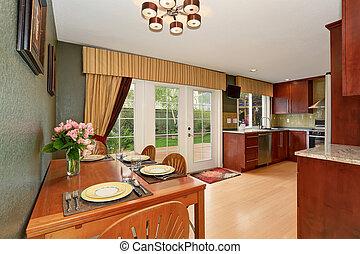 enkel, sammanhängande, dinning, kitchen., område