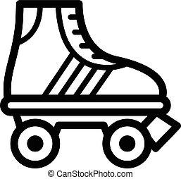 enkel, schaatsen, black , schets, rol