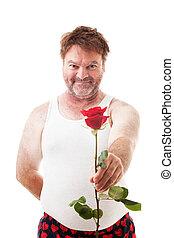 enkel, scruffy, roos, kerel