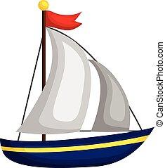 enkel, sejlbåd