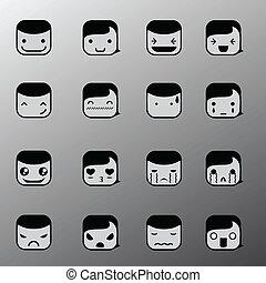 enkel, sinnesrörelse, symboler, ansikte