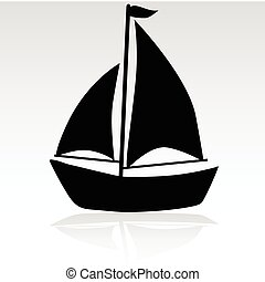 enkel, skib, illustration