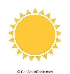 enkel, sol, ikon