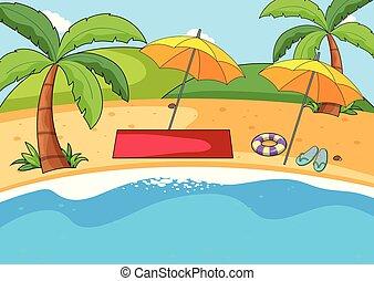 enkel, strand, bakgrund