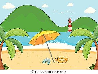 enkel, strand scen