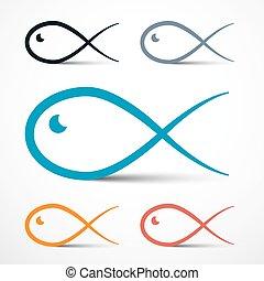 enkel, symboler, fish, sæt, udkast