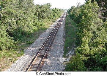 enkel, treinspoor