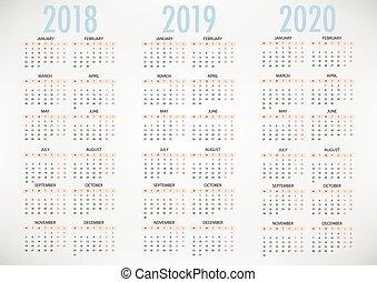 enkel, vektor, 2019, 2018, mall, 2020, kalender