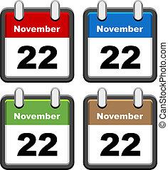 enkel, vektor, kalendrar