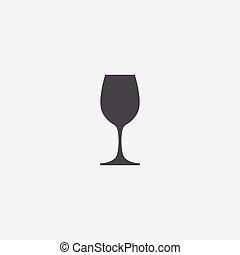 enkel, vinglas, ikon