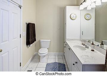 enkel, vit, badrum