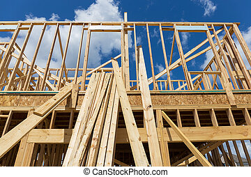 enkele familie, thuis gebouw, -, gebouw, een, nieuw, hout, ingelijst, woning