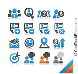enkelhet, resurs, affär, serie, -, vektor, mänsklig, ikon