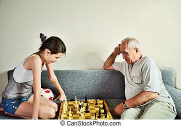 enkelin, opa, schach, front, spielende , ansicht