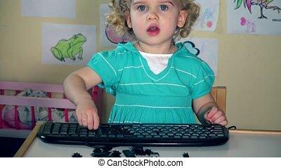 enlève, keyboard., boutons, girl, vilain, 4k, noir, peu