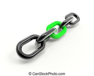 enlace, cadena,  3D