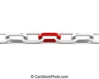 enlace, metal, rojo, cadena, uno
