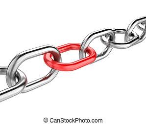 enlace, rojo, cadena
