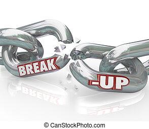 enlaces, cadena, desintegración, divorcio, roto, separación