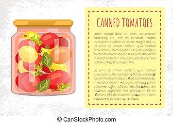 enlatado, cartaz, jarro, ilustração, vetorial, tomates
