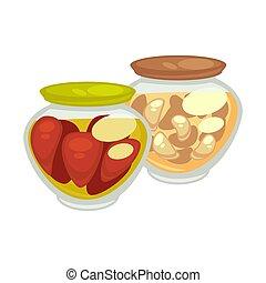 enlatado, champignons, cogumelos, tomates, pequeno, jarros, vermelho, oblongo