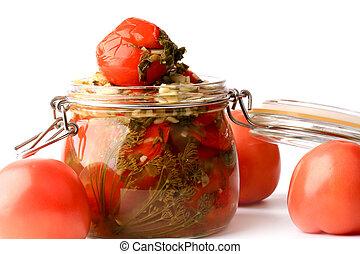 enlatado, estilo, jarro, pickled, isolado, rústico, vidro, fundo, branca, tomates