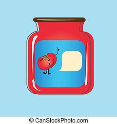 enlatado, tomatoes., vetorial, desenho, lar, banco