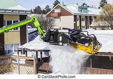 enlever, déblayement, -, neige, toit