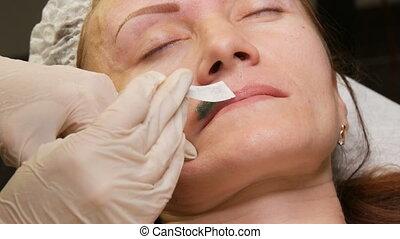 enlever, femme, chaud, waxing., figure, ou, appliqué, vert, cire, excès, cheveux, secteur, correction, moustache
